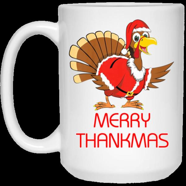 Funny Merry Thanksmas Thanksgiving Christmas Mug Apparel