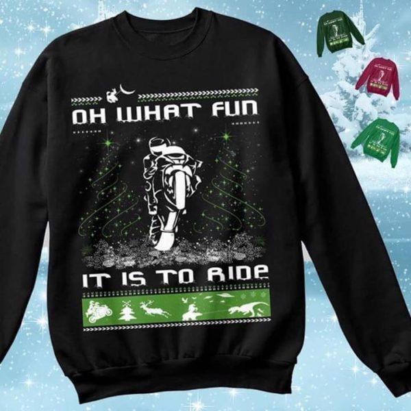 Oh what fun it is to ride biker christmas sweatshirt Apparel