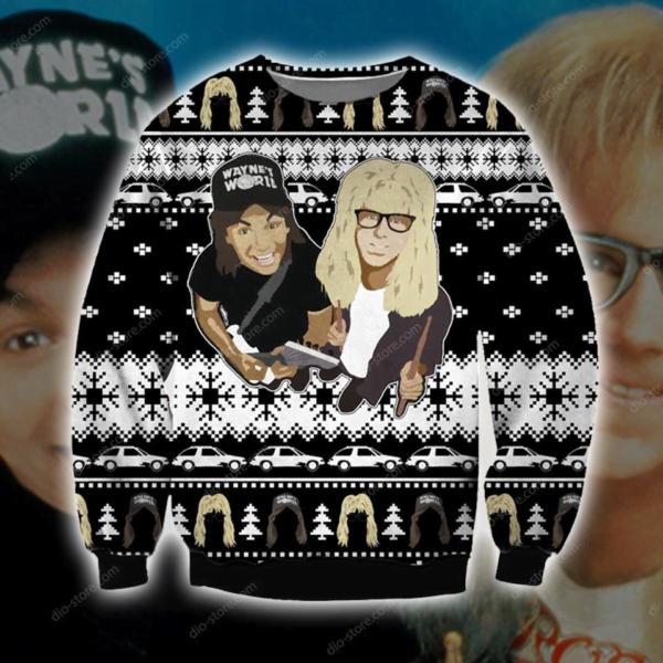 1992 Wayne's World 3D All Over Print Christmas Sweatshirt Apparel