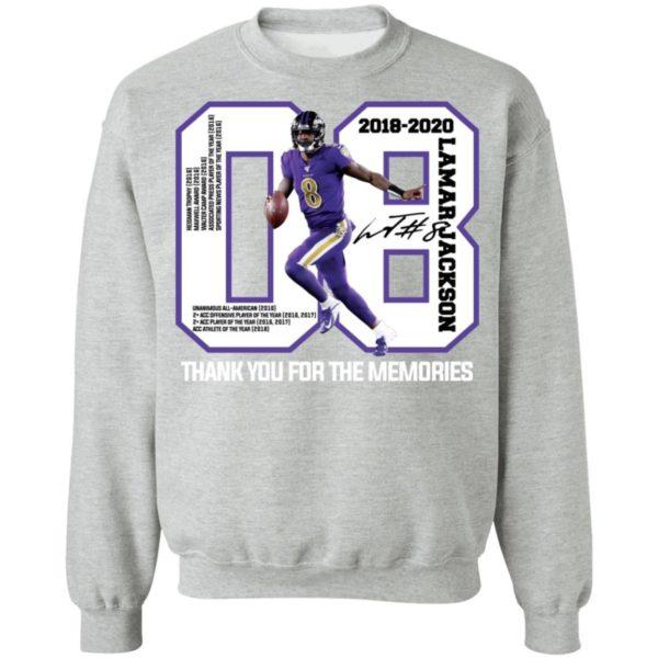 08 Lamar Jackson Thank You For The Memories Shirt Apparel