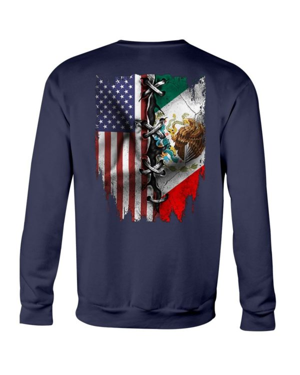 Mexican and American Flag Shirt Apparel