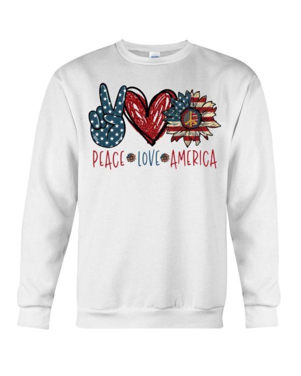 Peace Love America Sunflower Shirt Apparel