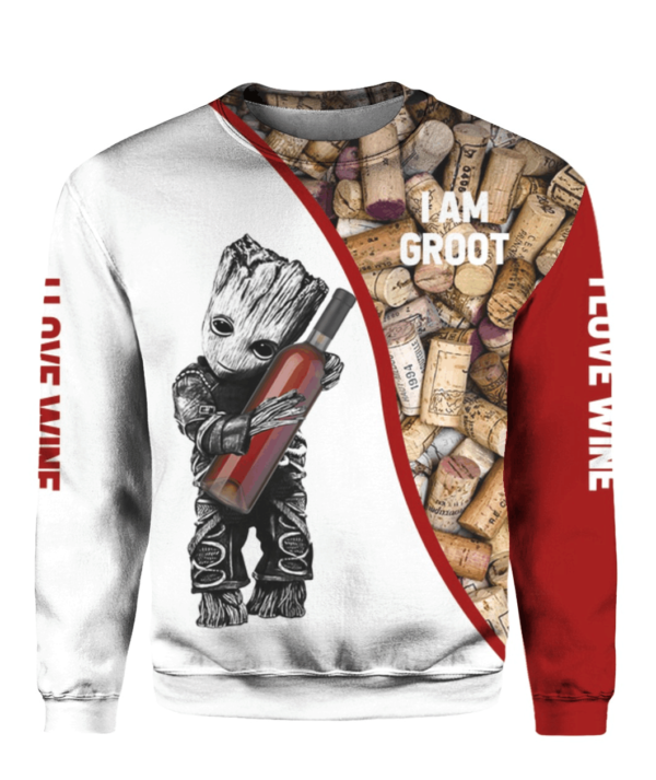 I Am Groot I Love Wine Full Printing Shirt Apparel