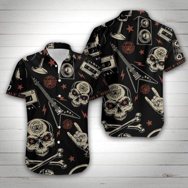 Guns N' Roses Hawaiian Skull Shirt Apparel