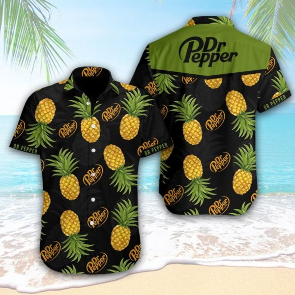 Dr Pepper Hawaiian Pineapple Shirt Apparel
