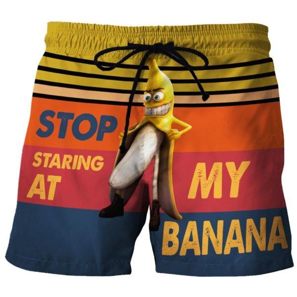 Stop Staring At My Banana Beach Short Pants Apparel