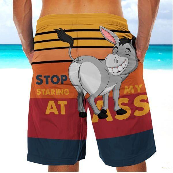 Stop Staring At My A ss Donkey Beach Short Pants Apparel