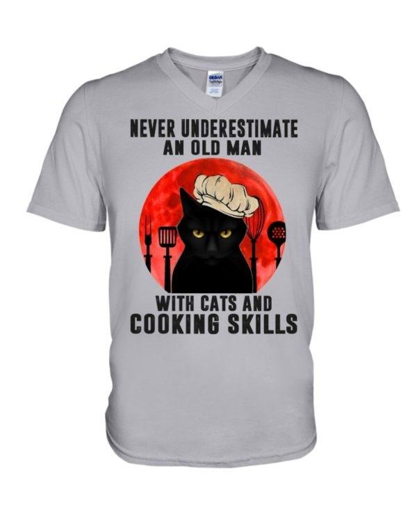 Cat And Chef Never Underestimate An Old Man With Cats And Cooking Skills Shirt Apparel