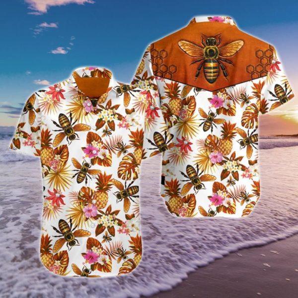 Bee Hawaiian Pineapple Shirt Apparel