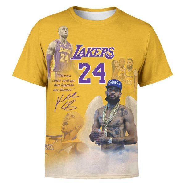 NipKobe Kobe Bryant 24 Lakers & Nipsey Hussle 3D All Over Print Apparel