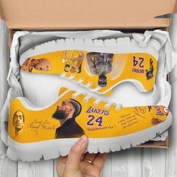 Kobe Bryant 24 Lakers & Nipsey Hussle Sneakers Shoes Apparel