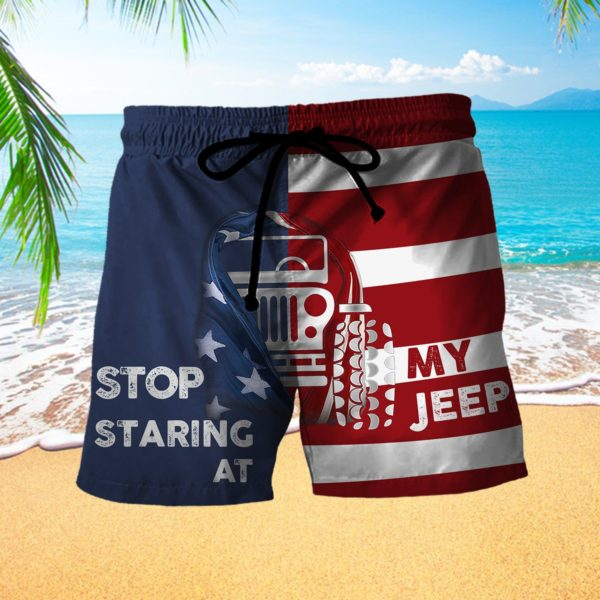 Stop Staring At My Jeep Beach Short Pants Apparel