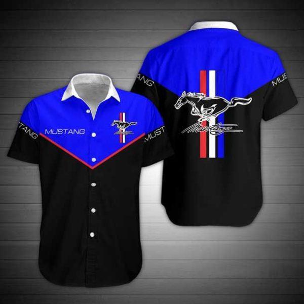 Ford Mustang Hawaiian Button Shirt Apparel
