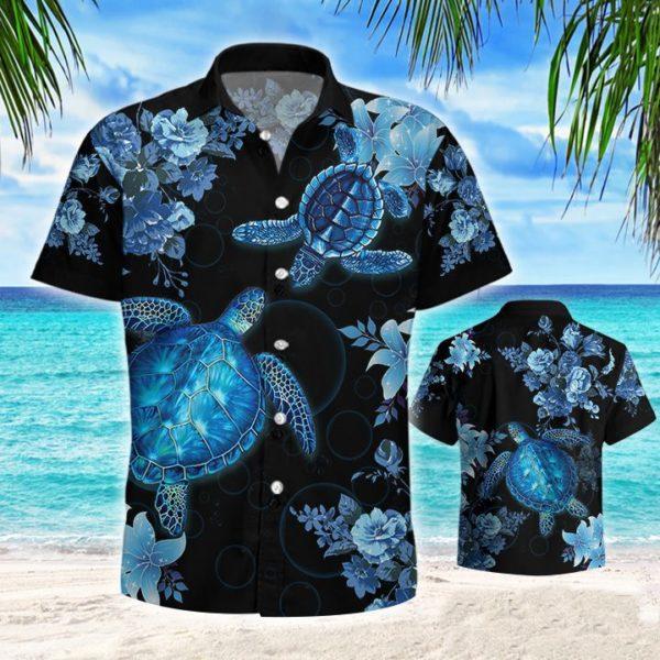 Blue Sea Turle Hawaiian Button Shirt Apparel