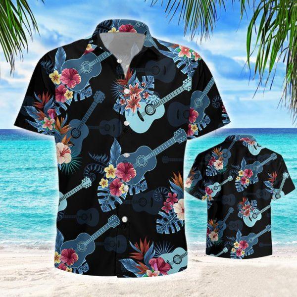 Guitar Tropical Hawaiian Button Shirt Jisubin Apparel