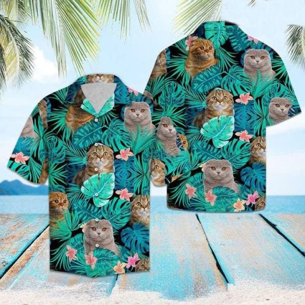 Persian Cat Tropical Hawaiian Button Shirt Apparel