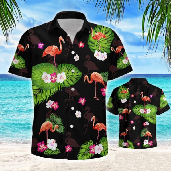 Flamingo Tropical Hawaiian Button Shirt Apparel