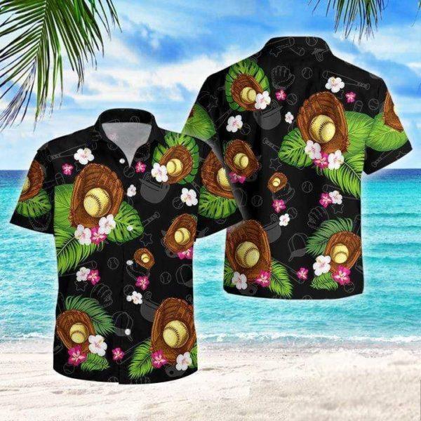 Softball Flowers Tropical Hawaiian Shirt Apparel