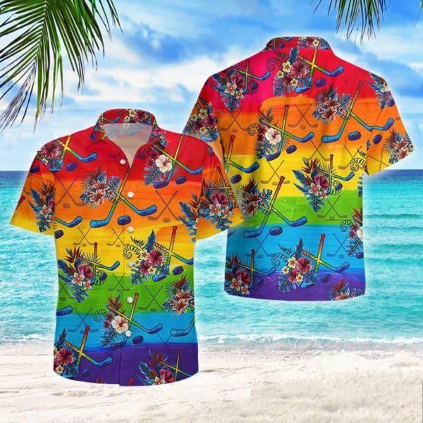 LGBT Proud Hockey Flowers Tropical Hawaiian Shirt Jisubin Apparel