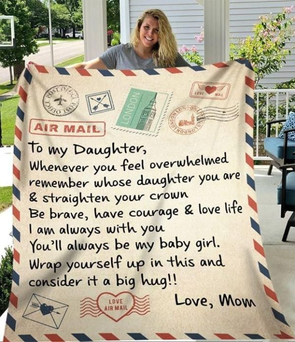 To My Daughter Air Mail Blanket Apparel