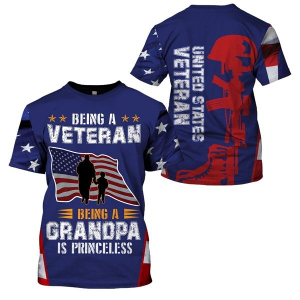 Being A Veteran,Being A Grandpa Is Priceless 3D All Over T Shirt Apparel