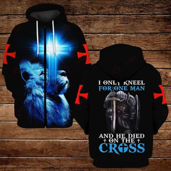 I Only Kneel For One Man And He Died On The Cross 3D All Over Print T Shirt Apparel