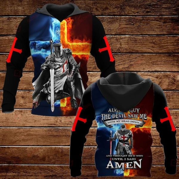 August Guy The Devil Saw Me With My Head Down And Thought He'd Won Until I Said Amen 3D All Over Print T Shirt Apparel