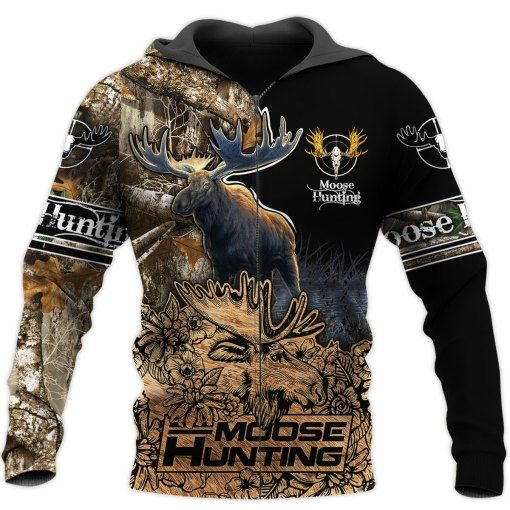 Beautiful Moose Hunting Brown Camo 3D All Over Print Shirt Apparel