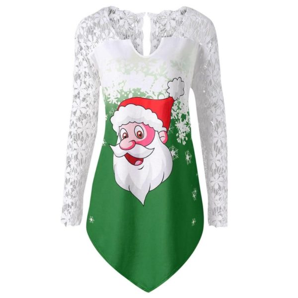Merry Christmas Lace Panel Santa Claus Tops Long Sleeve Apparel