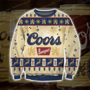 Coors Banquet Beer Knitting Pattern 3D Print Ugly Sweater