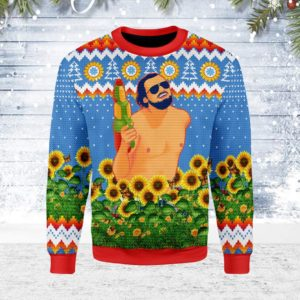 Leo Running With Water Gun Ugly Christmas Sweater