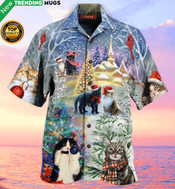 Have A Purry Purry Christmas Cat Hawaiian Shirt Jisubin Apparel