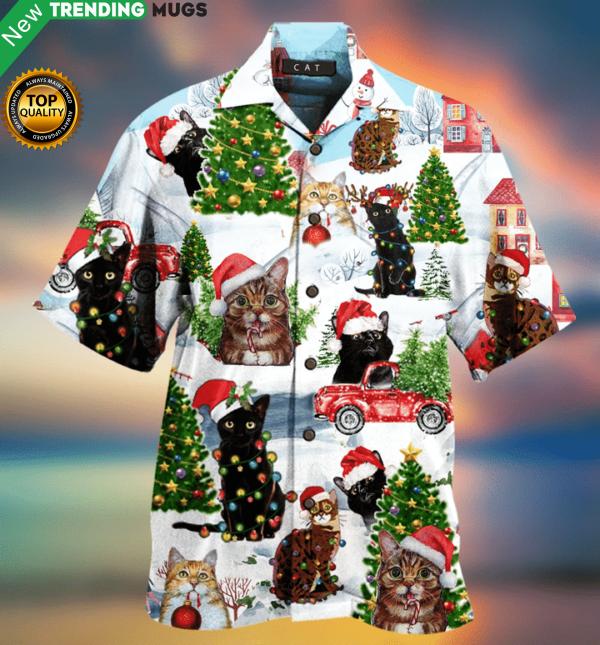 Christmas Cat Hawaiian Shirt Jisubin Apparel