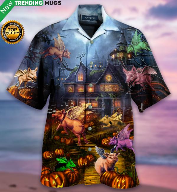 When Pigs Fly Halloween Hawaiian Shirt Jisubin Apparel