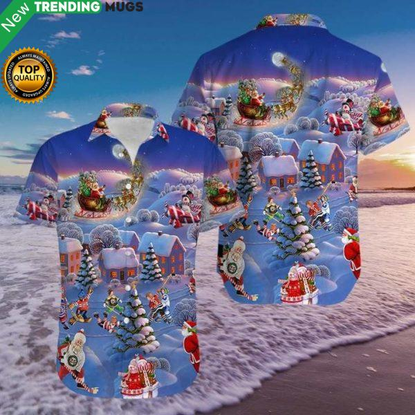 Hockey And Santa Claus Christmas Hawaiian Shirt Jisubin Apparel