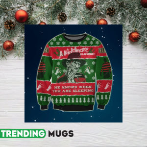 A Nightmare On Elm Street Knitting Pattern 3D Print Ugly Sweater