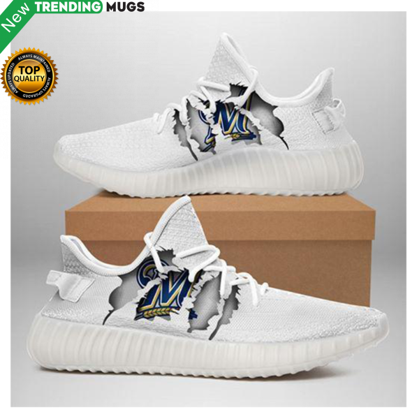 Milwaukee Brewers Ripped White Running Shoes Yeezy Sneaker Shoes & Sneaker