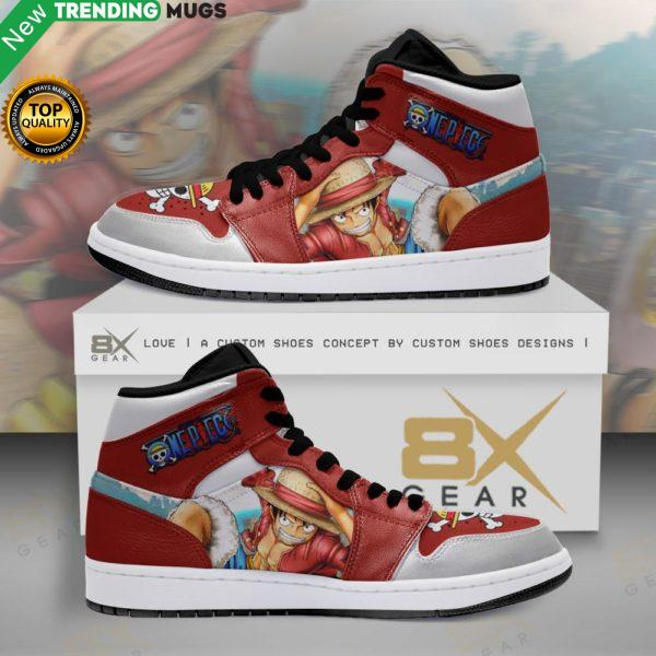 Luffy Red High Jordan Sneakers Custom Gift For One Piece Fans Shoes & Sneaker