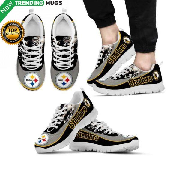 Pittsburgh Steelers Unisex Breathable Sneakers Football Custom Shoes Pittsburgh Steelers Cheap Sneakers Boost Shoes & Sneaker