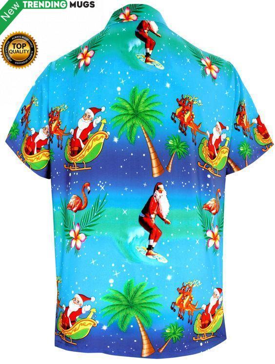 Christmas Santa Coconut Tree Hawaiian Shirt Jisubin Apparel