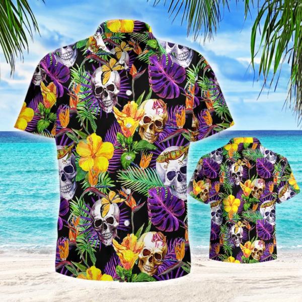 Skull Tropical Hawaiian Shirt Jisubin Apparel