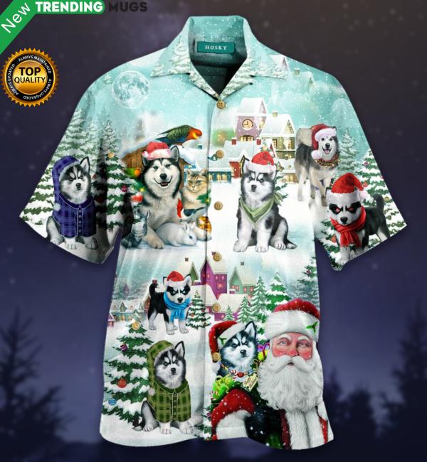 Merry Husky Christmas Hawaiian Shirt Jisubin Apparel