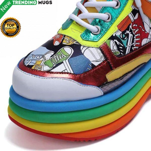 Brand 2020 New Street Fashion Increasing Sneaker Women Flat Shoes Colorful Female Shoes Woman Sneakers High Soles Platform Shoes Shoes & Sneaker
