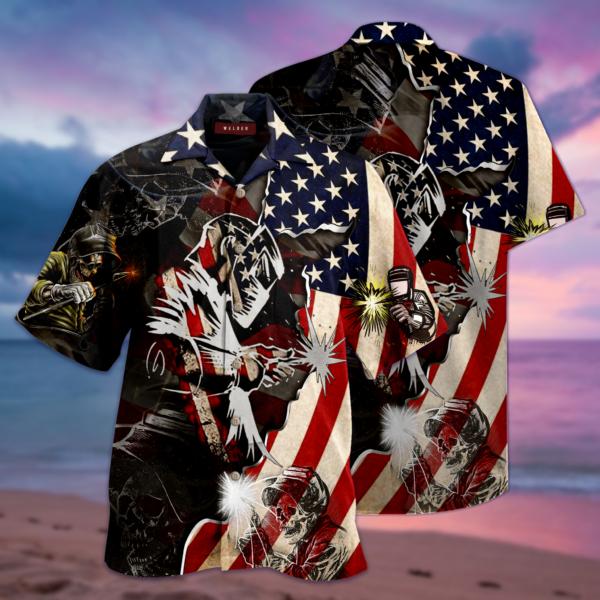 Patriotic Welder Hawaiian Shirt Jisubin Apparel