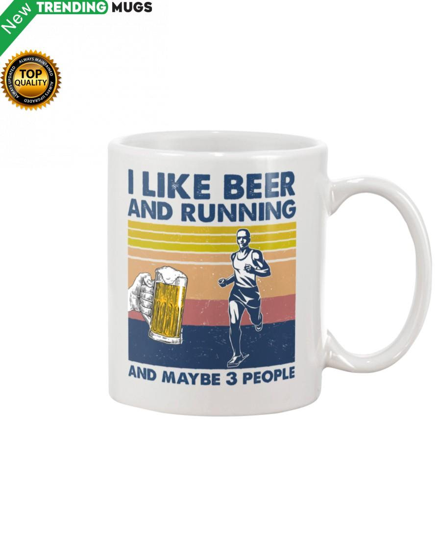 I Like Beer And Running And Maybe 3 people Man Mug Apparel