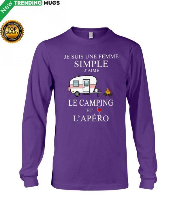 Camping Femme Simple Apero purple Hooded Sweatshirt Apparel